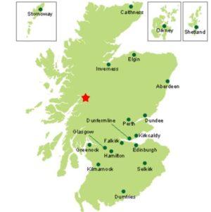 carte Glencoe dans le district de Lochaber